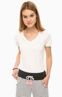 Хлопковая футболка молочного цвета с короткими рукавами Luhta