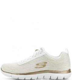 Белые текстильные кроссовки на шнурках Skechers