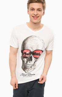 Белая футболка с треугольным вырезом Blend