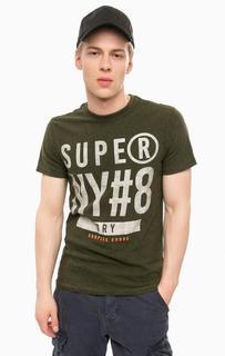 Хлопковая футболка цвета хаки с короткими рукавами Superdry