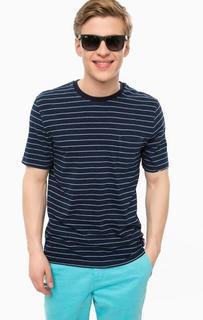 Синяя хлопковая футболка в полоску Superdry