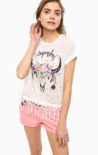 Белая футболка с цветочным принтом Superdry