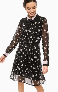 Приталенное платье с вырезом на пуговицах Pois
