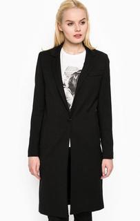 Черное пальто с застежкой на пуговицу Rich&Royal