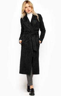 Черное пальто из полиэстера с поясом Drykorn