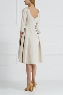 Платье из хлопка и льна Jil Sander Navy