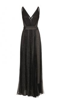 Платье-макси с высокими разрезами и металлизированной отделкой Elie Saab