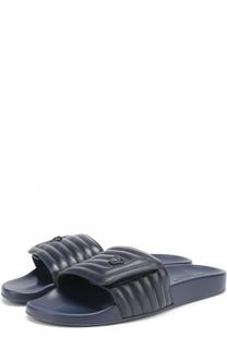 Кожаные шлепанцы с декором Versace