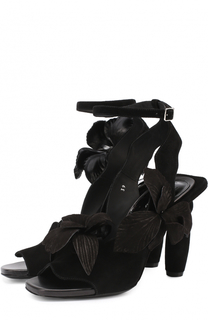 Замшевые босоножки на фигурном каблуке Dries Van Noten