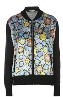 Куртка-бомбер с атласной вставкой и карманами Emilio Pucci