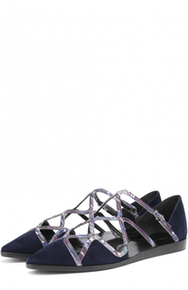 Замшевые балетки с отделкой из металлизированной кожи Giorgio Armani