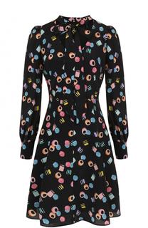 Шелковое платье с воротником аскот и принтом Marc Jacobs
