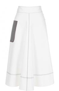 Хлопковая юбка А-силуэта с накладным карманом Aquilano Rimondi