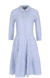 Льняное платье-рубашка в полоску 120% Lino
