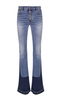 Расклешенные джинсы с контрастной отделкой и разрезами Roberto Cavalli
