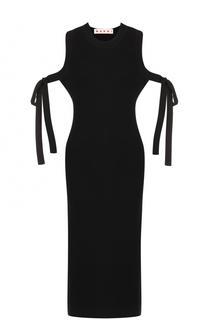 Вязаное платье с открытыми плечами и высокими разрезами Marni