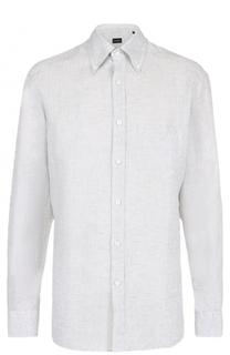 Льняная рубашка с воротником button down Ermenegildo Zegna