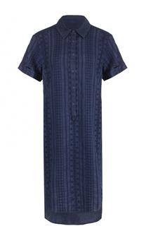 Платье-рубашка с удлиненной спинкой и вышивкой 120% Lino
