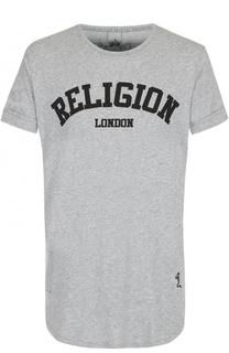Хлопковая футболка с контрастной надписью Religion