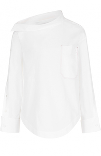 Блуза с асимметричным воротником с накладным карманом Aquilano Rimondi