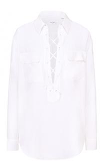 Шелковая блуза прямого кроя со шнуровкой Equipment