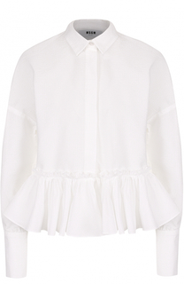 Хлопковая блуза со спущенными рукавами и оборкой MSGM