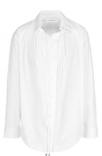 Хлопковая блуза прямого кроя с защипами Aquilano Rimondi