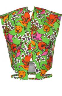 Топ с цветочным принтом и открытой спиной Balenciaga
