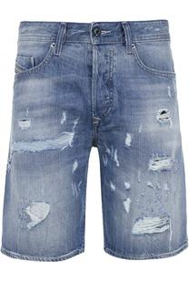 Джинсовые шорты с декоративными потертостями Diesel