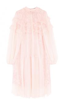 Кружевное платье прямого кроя с воротником-стойкой No. 21