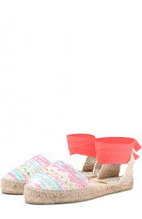 Текстильные эспадрильи с лентами на щиколотке Manebi