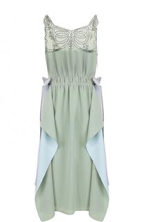 Шелковое платье с оборками и кружевной отделкой Fendi