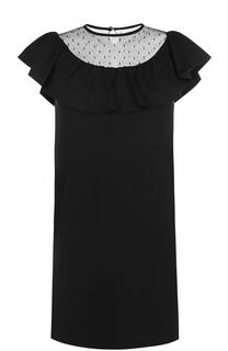 Мини-платье с кружевной вставкой и оборкой REDVALENTINO