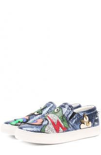 Кожаные слипоны Mercer с аппликациями Marc Jacobs