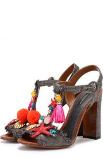 Плетеные босоножки Keira с подвесками Dolce & Gabbana