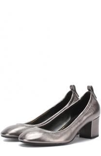 Туфли из металлизированной кожи на устойчивом каблуке Lanvin