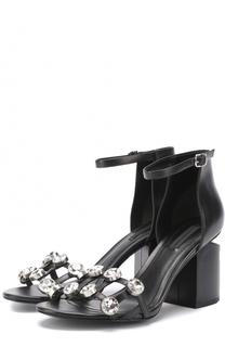 Кожаные босоножки с кристаллами на устойчивом каблуке Alexander Wang