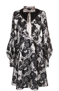 Платье с металлизированной отделкой и воротником аскот Marc Jacobs