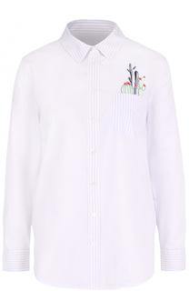 Хлопковая блуза в полоску с контрастной вышивкой Equipment