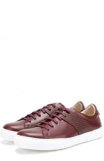Кожаные кеды на шнуровке с контрастной отделкой Pal Zileri