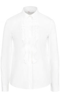 Хлопковая блуза прямого кроя с оборками REDVALENTINO