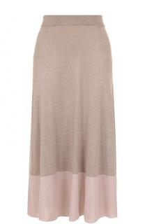 Шелковая юбка-миди с контрастным подолом Cruciani