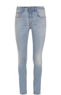 Укороченные джинсы-скинни с потертостями Roberto Cavalli