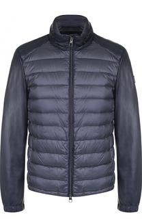Стеганая куртка на молнии с отделкой из натуральной кожи Montecore