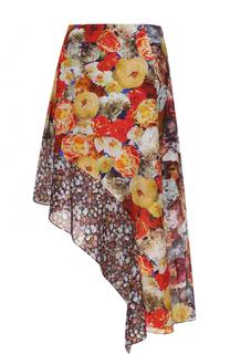 Шелковая юбка асимметричного кроя с цветочным принтом Acne Studios