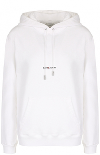 Толстовка с логотипом бренда и капюшоном Saint Laurent
