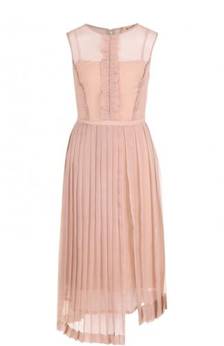Полупрозрачное платье с оборками и плиссированной юбкой No. 21