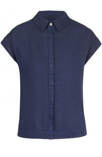 Льняная блуза прямого кроя с коротким рукавом 120% Lino
