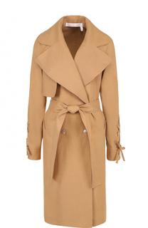 Льняное пальто со шнуровкой и поясом See by Chloé