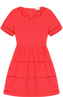 Мини-платье с завышенной талией и перфорацией REDVALENTINO